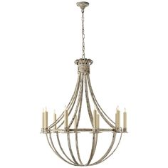 """This simple but lovely vintage look basket chandelier has a weathered Belgian Cream or Aged Iron finish. Substantial in scale for a home with tall ceilings and large rooms. Hang in a 2-story living room or grand foyer for a vintage cottage or rustic farmhouse look. 6' of chain and 5"""" round canopy included. (40.75""""Hx34""""W). 10 x 60 watt max candelabra sockets."""