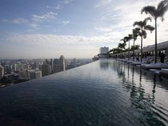 Marina Bay Sands, Singapore: The infinity pool on the 55th floor of the luxury hotel is one of the biggest, and highest, in the world. Three times the size of an Olympic swimming pool, this 150m water body makes us believe that the water extends to the horizon.