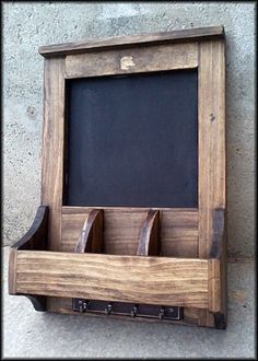 Organizer with Chalkboard and Key Holder