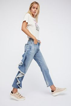 Citizens of Humanity Estella Side Ruffle Jeans Jeans Pants, Mom Jeans, Rush Week, Citizens Of Humanity Jeans, Jean Outfits, American Made, Free People, Denim, Spring