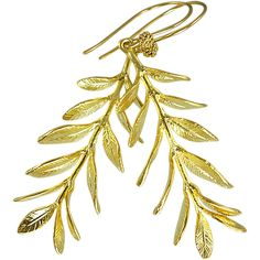 Branch & Leaf 16kt Gold Vermeil Balinese Earrings