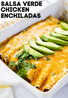 These Creamy Salsa Verde Chicken Enchiladas are made with a creamy and delicious filling, and smothered with cheese. They will kick any Mexican food craving! Slow Cooker Shredded Beef, Shredded Beef Tacos, Mexican Food Recipes, Healthy Recipes, Delicious Dinner Recipes, Eat Healthy, Keto Recipes, Chicken Enchiladas Verde, Tacos And Burritos