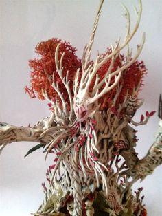Treeman Ancient - Detail closeup painted by Kayla Perisho-Denley Warhammer Wood Elves, Warhammer Fantasy, Warhammer Aos, Fantasy Paintings, Mini Paintings, Fantasy Art, Warhammer Figuren, Tabletop, Zbrush
