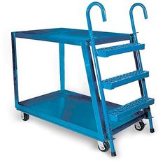 """VESTIL Stock-Picking Ladder Trucks by Vestil. $560.00. Make stocking shelves and pulling orders easier! VESTIL Stock-Picking Ladder Trucks allow items to be picked from inventory up to 10 feet off the ground.Spring-loaded ladders with rubber tips grip the floor when weight is applied. One-piece Grip Strut steps assure skid- and slip-resistant footing. Fixed-tray shelves have 2""""H lips to keep stock from shifting. 12-gauge steel construction.Overall height is 19 ..."""