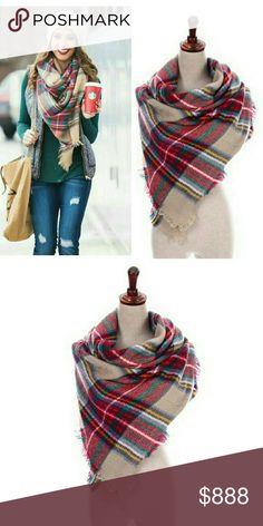 "Tan tartan blanket scarf Large Tan tartan blanket scarf  Very soft.  57"" x 54"" boutique  Accessories Scarves & Wraps"
