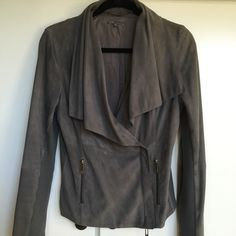 Vince soft as butter suede jacket  Beautiful rich grey suede jacket with ribbing on the inside of the arms and sides of the jacket to give it a gentle stretch and nice fit!  Wonderful to wear ... Very gently worn with no signs of wear Vince Jackets & Coats Jean Jackets