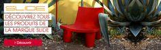 Slide mobilier de jardin design #outdoor #extérieur #red #jardin #terrasse #balcon #garden #terrace #balcony #siege #rouge #fauteuil #armchair #bas