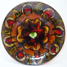 XXL Ruscha Wall Plate • West German Pottery • Fat Lava Wandteller • 70 s