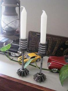 candle sticks; flint handmade: Upcycling Love: Spare Metal Car Parts into Home Decor!