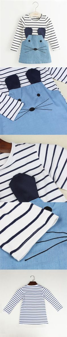 Striped Patchwork Character Girl Dresses Long Sleeve Cute Mouse Children Clothing Kids Girls Dress Denim Kids Clothes 2016 New $9.36