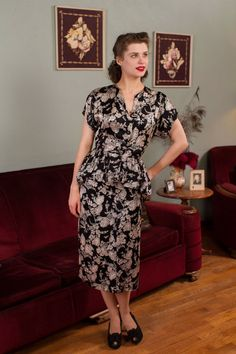 Vintage 1940s Dress  Black and White Novelty Print by FabGabs