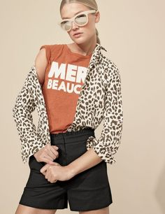 "J.Crew women's cotton-linen perfect shirt in leopard print, ""merci beaucoup"" T-shirt, ruffled short and Betty sunglasses."
