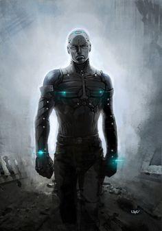-- Alone -- by *wyv1 on deviantART, future, futuristic style, cyberpunk, future warrior, futuristic suit, cyborg, dark, sci-fi, science fiction