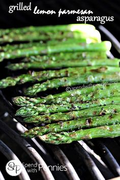 Delicious grilled asparagus topped with grilled lemon and parmesan!  Amazing summer side!