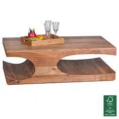 WOHNLING Couchtisch Massiv Holz Akazie 118 Cm Breit Wohnzimmer Tisch Design Dunkel Braun