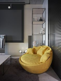 Mellow Yellow: 7 Soothing Apartments with Sunny Accents Ikea Dining Chair, Wayfair Living Room Chairs, Accent Chairs For Living Room, Living Room Sofa, Living Rooms, Yellow Bean Bags, Nursing Chair Uk, High Back Accent Chairs, Barber Chair For Sale