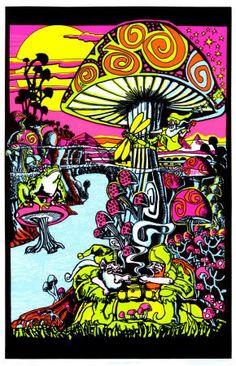 Vintage Mushroom Psychedelic Poster