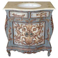 Antique Bathroom Vanity Cabinet Top Sink Stone Light Blue French Scroll  Finish In Home U0026 Garden, Home Improvement, Plumbing U0026 Fixtures, Vanities