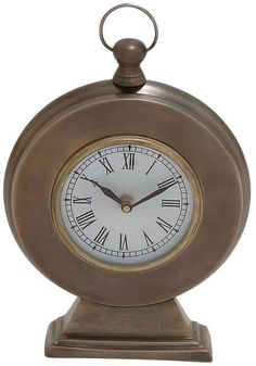 Benzara 27477 Round Shaped Table Clock In Traditional Design