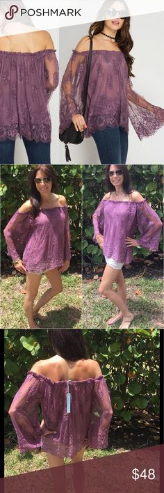 Plum Off the Shoulder Lace Blouse Let's just say Brilliant!  This top is so romantic, seductive and so darn adorable. Talk about ease to wear and styling is limitless. This beauty is lined shell is 70% cotton & 30% polyester and the lining is 100%  polyester woven. It is very true to size, extremely comfortable! This is one must have! Any questions please ask. All prices are firm. Tops Blouses