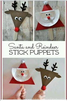 DIY Santa and Reindeer stick puppet craft! Kids will love making these cute little Christmas puppets and can use them to retell their favorite Christmas stories. Preschool Christmas, Christmas Activities, Christmas Crafts For Kids, Christmas Projects, Christmas Themes, Kids Christmas, Holiday Crafts, Christmas Decorations, Christmas Ornaments