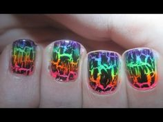 GlamNailz - Neon Rainbow Crackle Nails i used a clean eyeshadow wand instead of her way its much neater