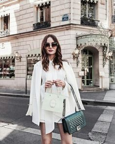White outfit + black bag