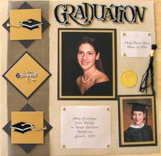 Graduation Scrapbook page Senior Scrapbook Ideas, School Scrapbook Layouts, Album Scrapbook, Scrapbook Designs, Scrapbook Sketches, Scrapbooking Layouts, Scrapbook Borders, Scrapbook Templates, Scrapbook Embellishments