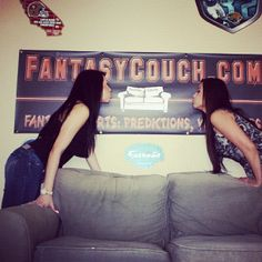 On the set of The Couch. Kiss the Fantasy Couch banner!