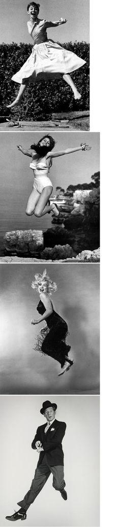 Philippe Halsman - 'Jumpology' - Audrey Hepburn, Brigitte Bardot, Marilyn Monroe and Danny Kaye. 1950's.