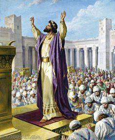 1 Kings Solomon Dedicates the Temple Solomons Temple, Spiritual Paintings, Kings Of Israel, Bible Illustrations, King Solomon, Bible Pictures, Biblical Art, Sunday School Lessons, Bible Art