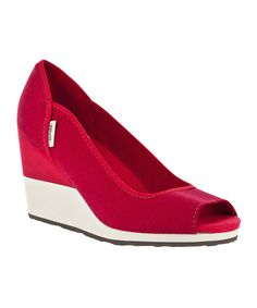 Take a look at this Teva Red Mush Promenade Peep-Toe Wedge - Women on zulily today!