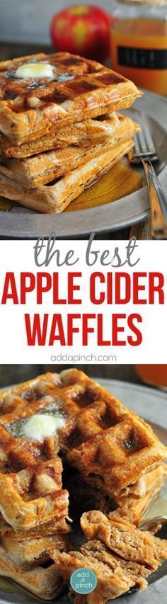 Apple Cider Waffles Recipe - Apple cider waffles are a great addition to your fall and winter breakfast routine. Serve these waffles with warm maple syrup and apple cider for the ultimate breakfast! (Fall Bake For Kids) Breakfast Desayunos, Breakfast Dishes, Breakfast Recipes, Mexican Breakfast, Pancake Recipes, Southern Breakfast, Breakfast Sandwiches, Food Trucks, Waffle Maker Recipes