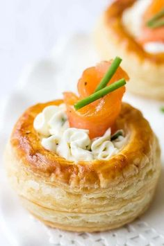 Cream Cheese And Smoked Salmon Vol Au Vents Looking for the best puff pastry recipes? This Cream Cheese And Smoked Salmon Vol Au Vents are decadent and melt-in-your mouth appetizers perfect for your next get-together. If you love smoked salmon appetizers, French Appetizers, New Year's Eve Appetizers, Finger Food Appetizers, Yummy Appetizers, Appetizer Recipes, Canapes Recipes, Christmas Appetizers, Party Appetizers, Party Recipes