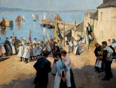 """""""Gala Day at Newlyn, Cornwall"""" c.1907 -  Stanhope Alexander Forbes"""