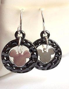 Silver Mickey Mouse Earrings Ears Dangle Disney Pierced Plated Black USA Seller #Unbranded #DropDangle