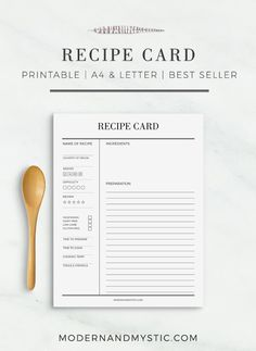 Recipe Card Printable Recipe Cards Recipe by modernandmysticshop