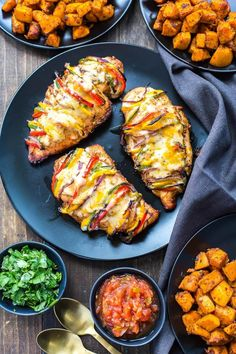 This Grilled Hassleback Fajita Stuffed Chicken is stuffed with bell peppers and red onions then topped with tex mex cheese - it's a delicious and healthy weeknight dinner that comes together in a pinch!