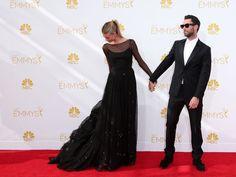Newlyweds Behati Prinsloo and Adam Levine. 2014 emmy