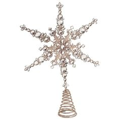 Melrose Gifts Snowflake Tree Topper ($20) ❤ liked on Polyvore featuring home, home decor, holiday decorations, champagne, snowflake christmas tree topper and snowflake tree topper