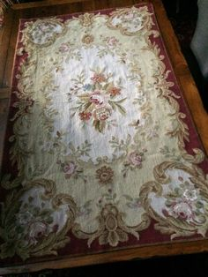 French AUBUSSON RUG shabby VICTORIAN chic NEEDLEPOINT wool TAPESTRY 3' x 5' #Aubusson