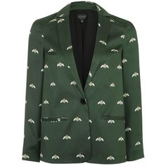 Topshop Bee Blazer (2 000 UAH) ❤ liked on Polyvore featuring outerwear, jackets, blazers, print jacket, topshop blazer, pattern jacket, topshop jackets and green jacket