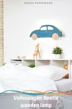 Vintage Volkswagen Beetle lamp design. Original Wooden wall lamp for your bedroom. Wooden lamps by SmagaPaperwood #VWBeetle #volkswagenbeetle #woodenlamp #nurserylamps #collegedormdecor  #wallsconce #uniquelamps #walllamps #kidsroomdecor #lampdesign  #livingroomlamp #bedroomlamp