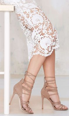 lace midi skirt and strappy heels