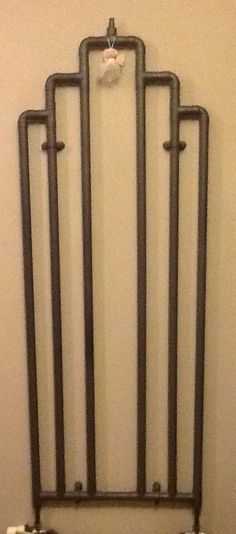 "Art Deco styled Radiator V2, hand-made for that wall in my living room, standard 2"" copper pipes, spray painted with car radiator paint. And a small nod to Dr Who"