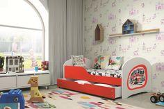 Kinderbett mit Bettkasten und fröhlichen Stickern