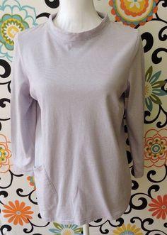 J.Jill Pure Jill Purple Stripe Draped-Pocket Cotton Top Size S #JJill #Top #Casual