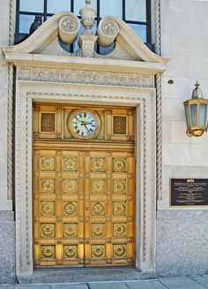 """""""Bank Door White Plains, New York"""" by Supremecourtjester This bank door and the building are on the New York and National Register of Historic Places. The building is now home to the Westchester Arts Council."""