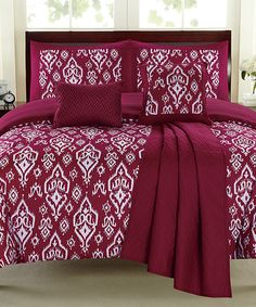 Another great find on #zulily! Raspberry Geometric Comforter Set #zulilyfinds