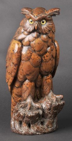 Black Forest Owl w/pyrography  Switzerland Ca. Late 1800's